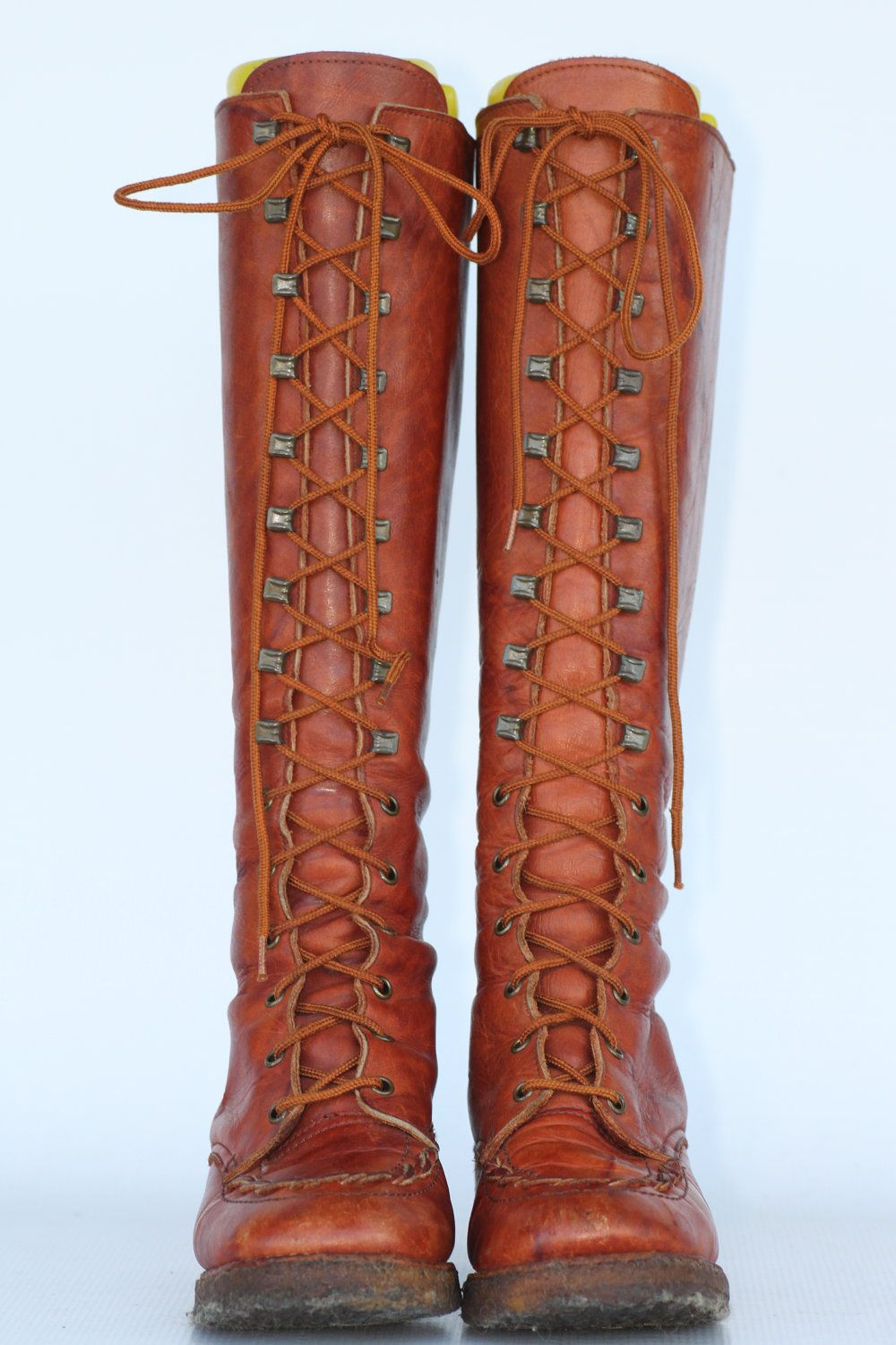 Vintage Zodiac tall lace up leather campus riding boots with gummy ...