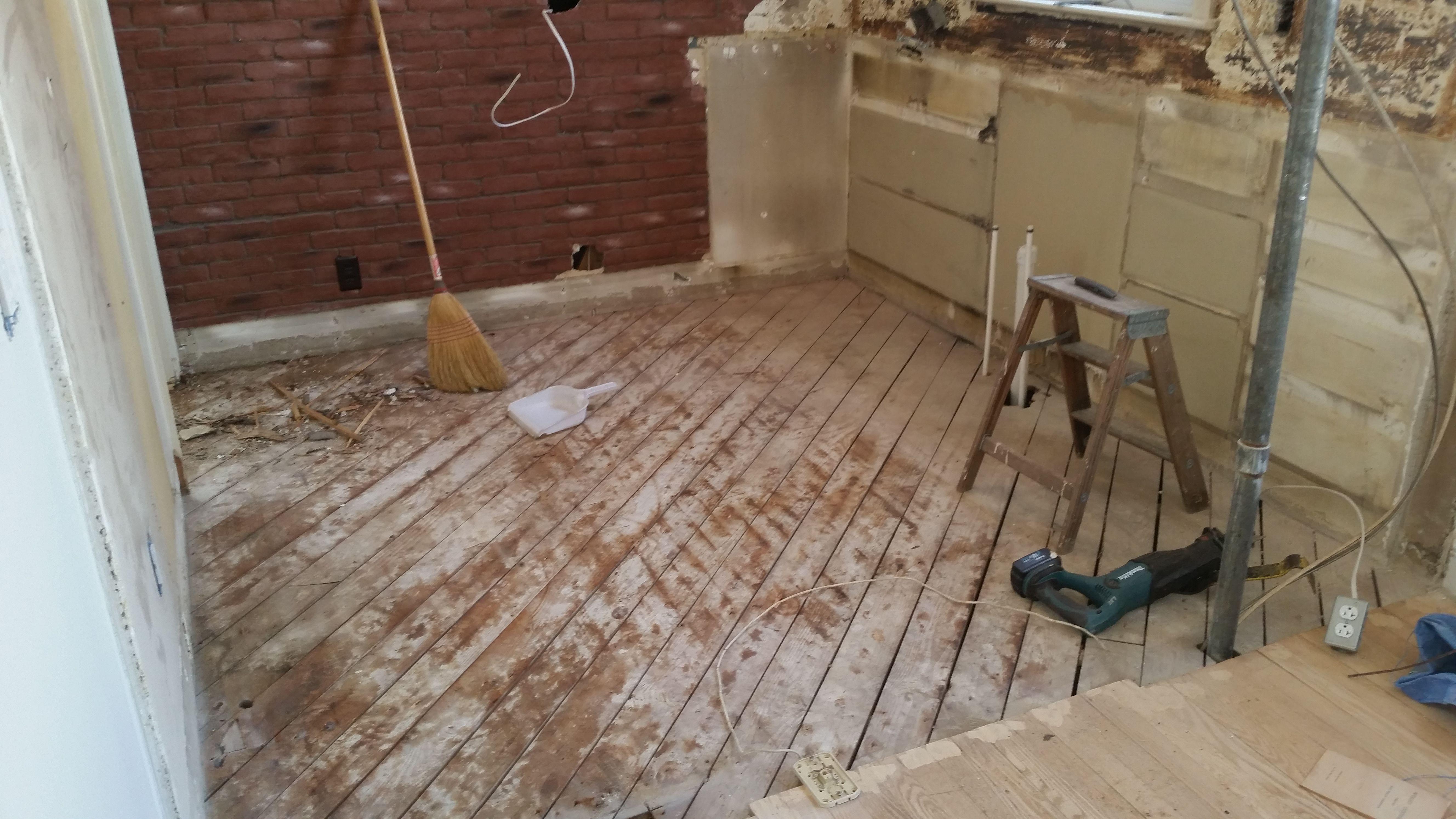 kitchen demo flooring remodel tile floor