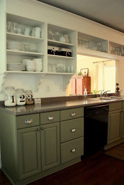 White Upper Green Lower Dark Countertops Upper Kitchen Cabinets Green Kitchen Cabinets Kitchen Cabinet Design