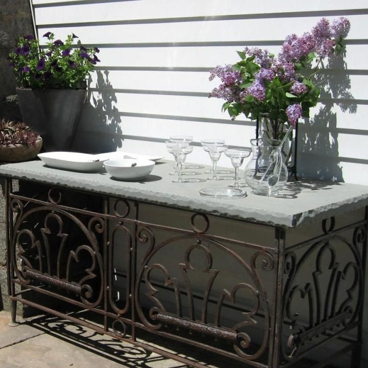 Gorgeous stone and metal outdoor sideboard Lanas patio dreams