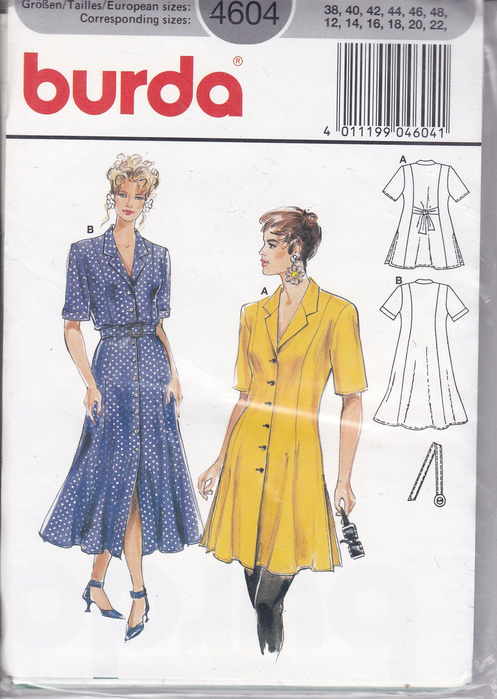 Free Us Ship Burda 4604 Retro 1990s 90 S Sewing Pattern Etsy Dress Sewing Patterns Dress Patterns Sewing Dresses