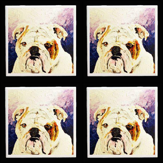 Bulldog Dog Coaster Set Art tile from Original by RMBArtStudio