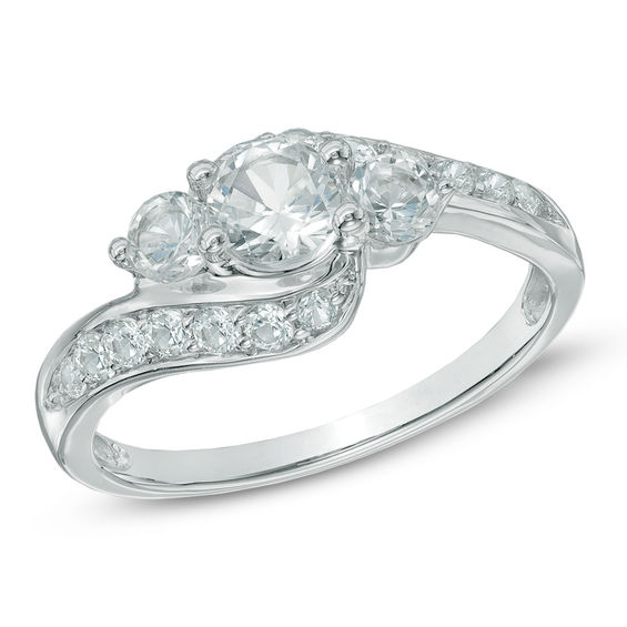 Lab Created White Sapphire Three Stone Bypass Ring In 10k White Gold White Gold White Sapphire Bypass Ring