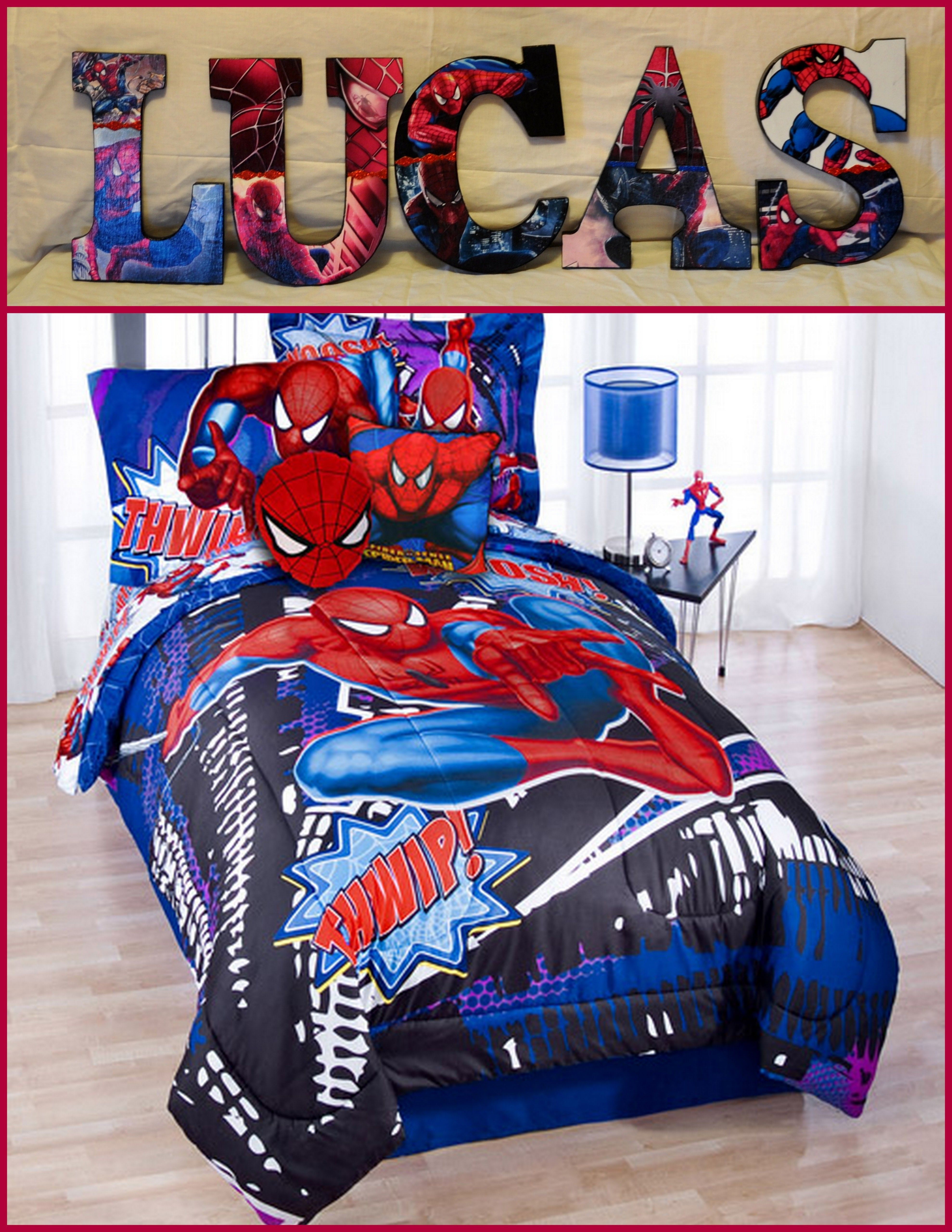 "Spiderman Inspired Personalize your child's room or any room 9"" Wooden Letters with Drilled holes in the back for easy hanging. Can do any theme, They are adorable and can finish any room. Can match bedding with good pic perfect. I can even do your photo's for memories or a family one with your family photo's. They are great for shower gifts, birthday gifts or just anyday gifts. Can match any bedding theme. $9.50 per letter - $9.50"