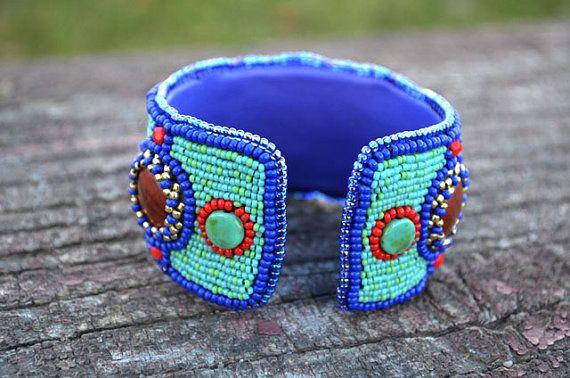 Beaded Lapis Lazuli Jasper Cuff Bead by TaitallasHandmade on Etsy