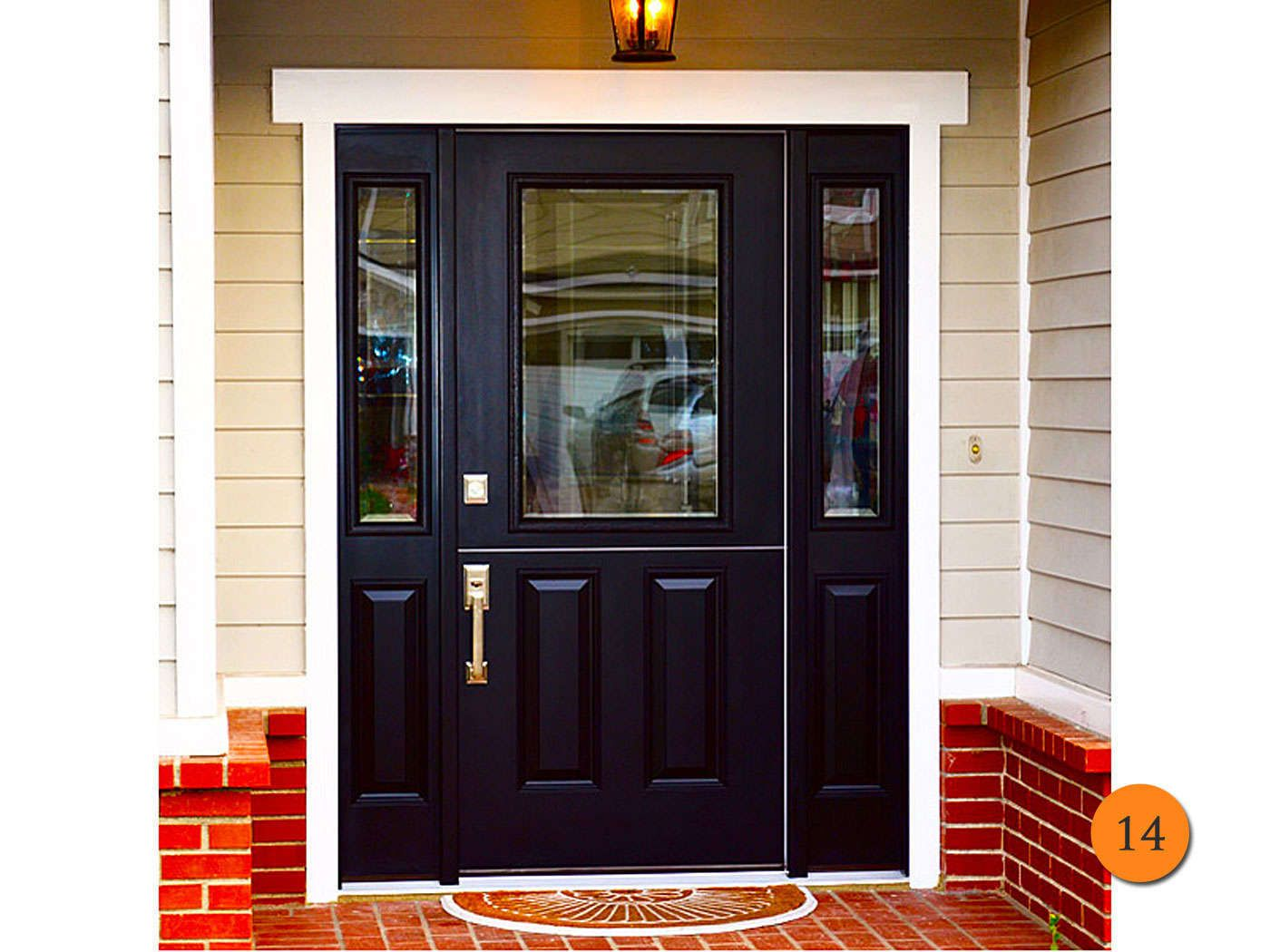 Black Dutch Door With Side Lights. Smooth Fiberglass Model With Clear Glass  With Low E. Exterior Black And Interior White.