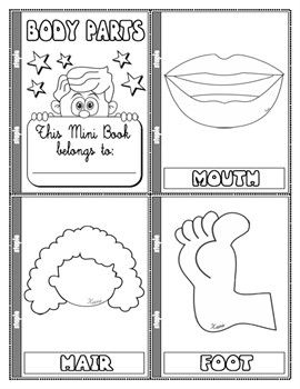 Parts Of The Body Colouring Mini Book 13 Pages