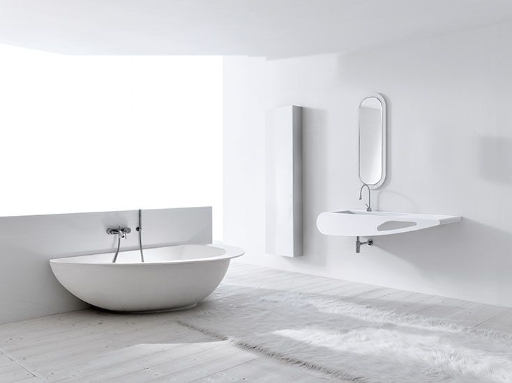Vasca Da Bagno White : Ovale freistehende badewanne aus white stone mineralguss