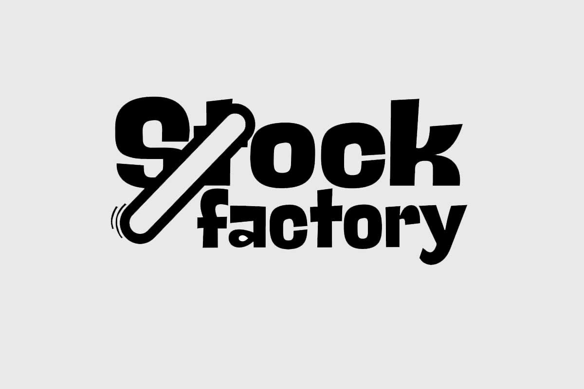 Κατασκευή λογότυπου Stock Factiory Κέρκυρα    Bold premium γραμματοσειρά και σχέδιο κίνησης