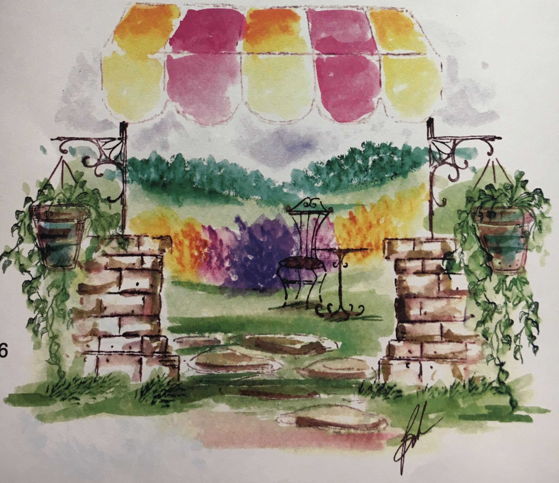 art impressions - watercolor - markers - catalog photo - garden entrance - F-2447, AA-1734, AA-1729, E-2441, J-2435, A-2437, AA-2438, F-1723, AA-1366, AAA-1374, A-893