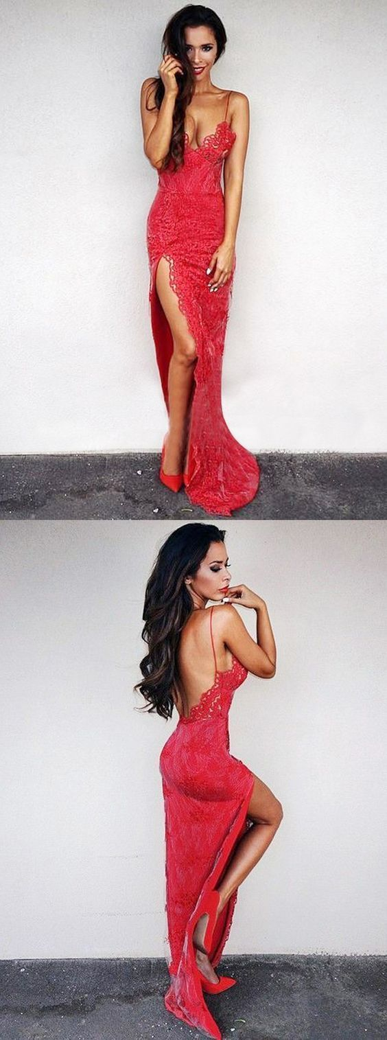 Mermaid spaghetti straps backless red lace prom dress with split in