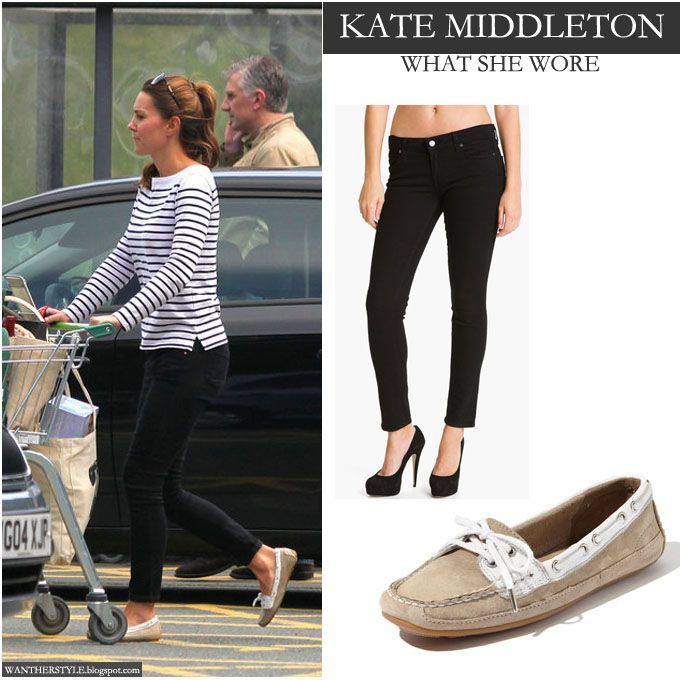 e879cd5e03f Kate Middleton in stripe top with black skinny jeans and suede flat shoes