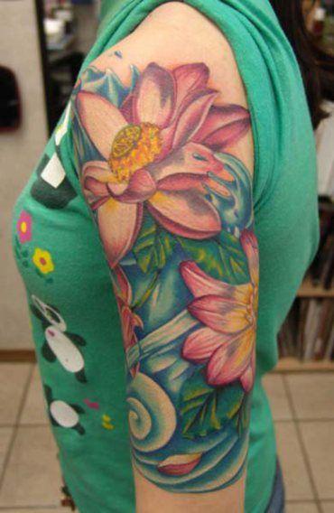Beautiful Soft And Feminine Full Color Half Sleeve Lotus Flowers And Water Tattoo Sleeve Tattoos For Women Half Sleeve Tattoo Sleeve Tattoos