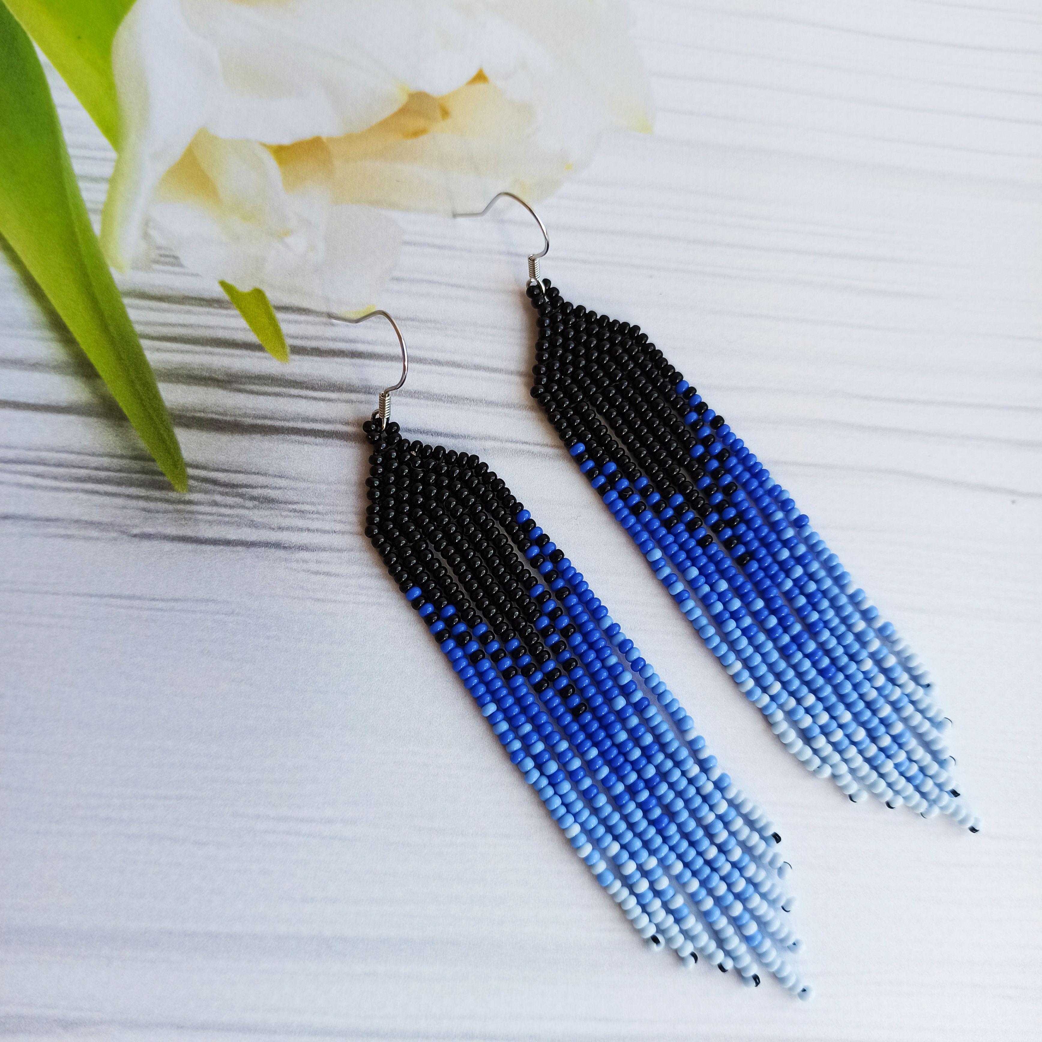 beaded drop earrings Fringe earrings lightweight earrings blue earrings handmade beaded earrings fringe beaded earrings