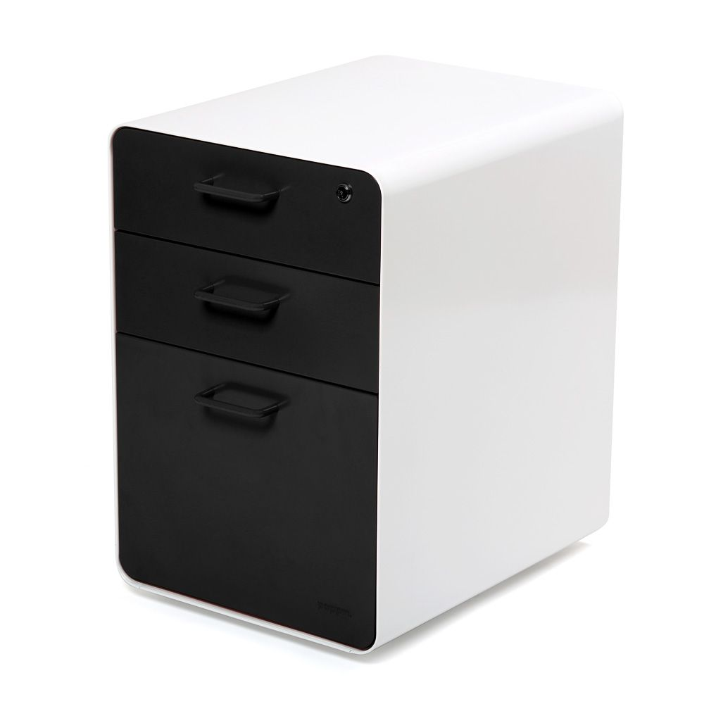 White + Black West 18th 3 Drawer File Cabinet | Modern Office Furniture |  Poppin