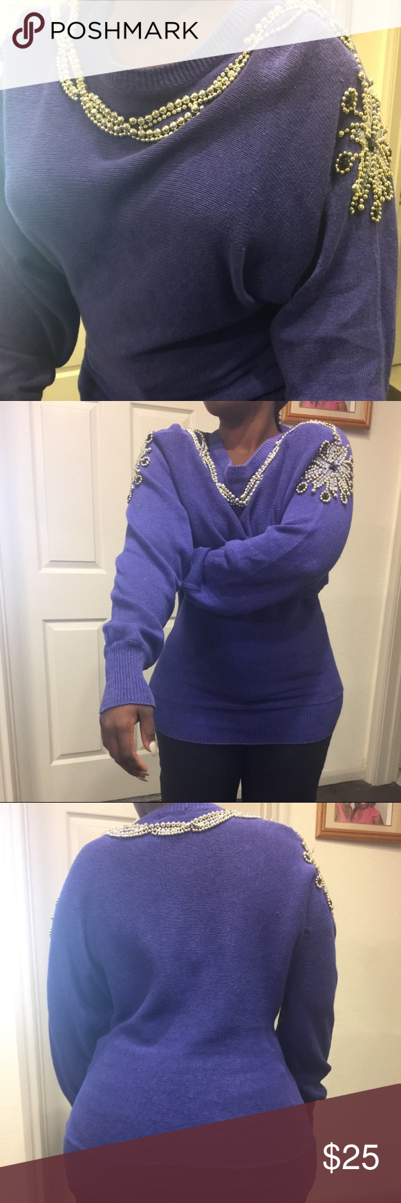 Purple jewel sweater. Purple cotton sweater embellished. Size Medium. The price is 25 dollars. Sweaters
