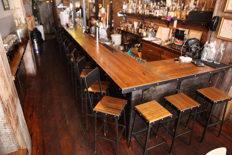 Custom Bar And Bar Stools Made By Brooklyn Reclamation For Black Tree  Restaurant. Made Of