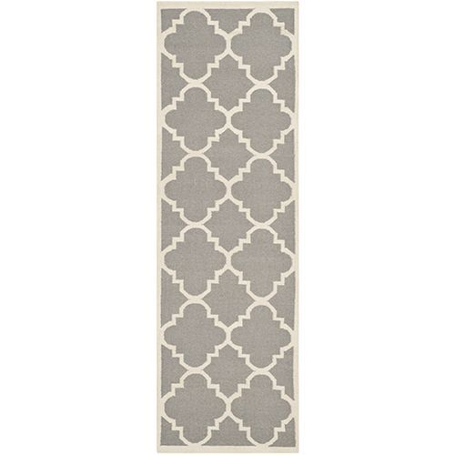 Dhurries Grey and Ivory Runner: 2 Ft. 6 In. x 8 Ft. Rug - (In Runner)