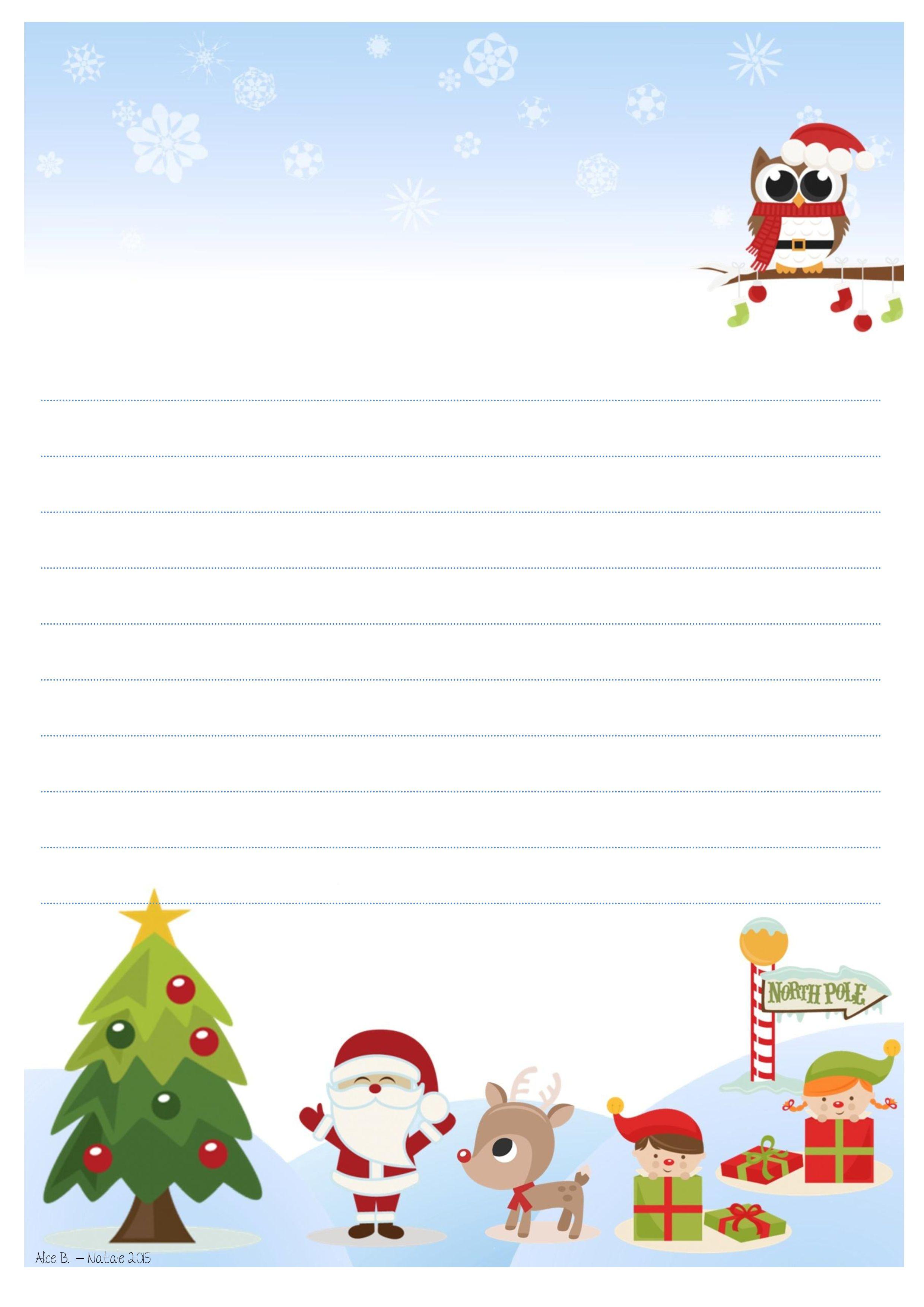 Cartoline Di Natale Da Stampare.Letterina A Babbo Natale Da Stampare Gratis Alice B