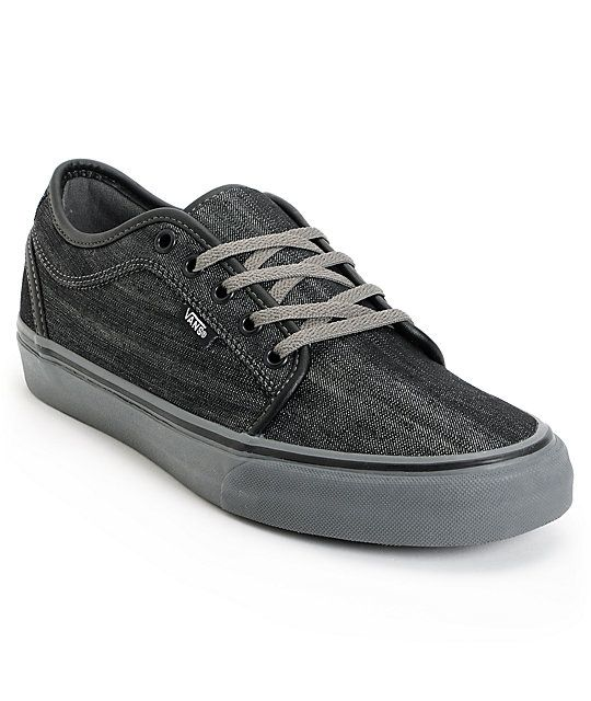 Skate shoes just don't get much better than the Vans Chukka Low black denim