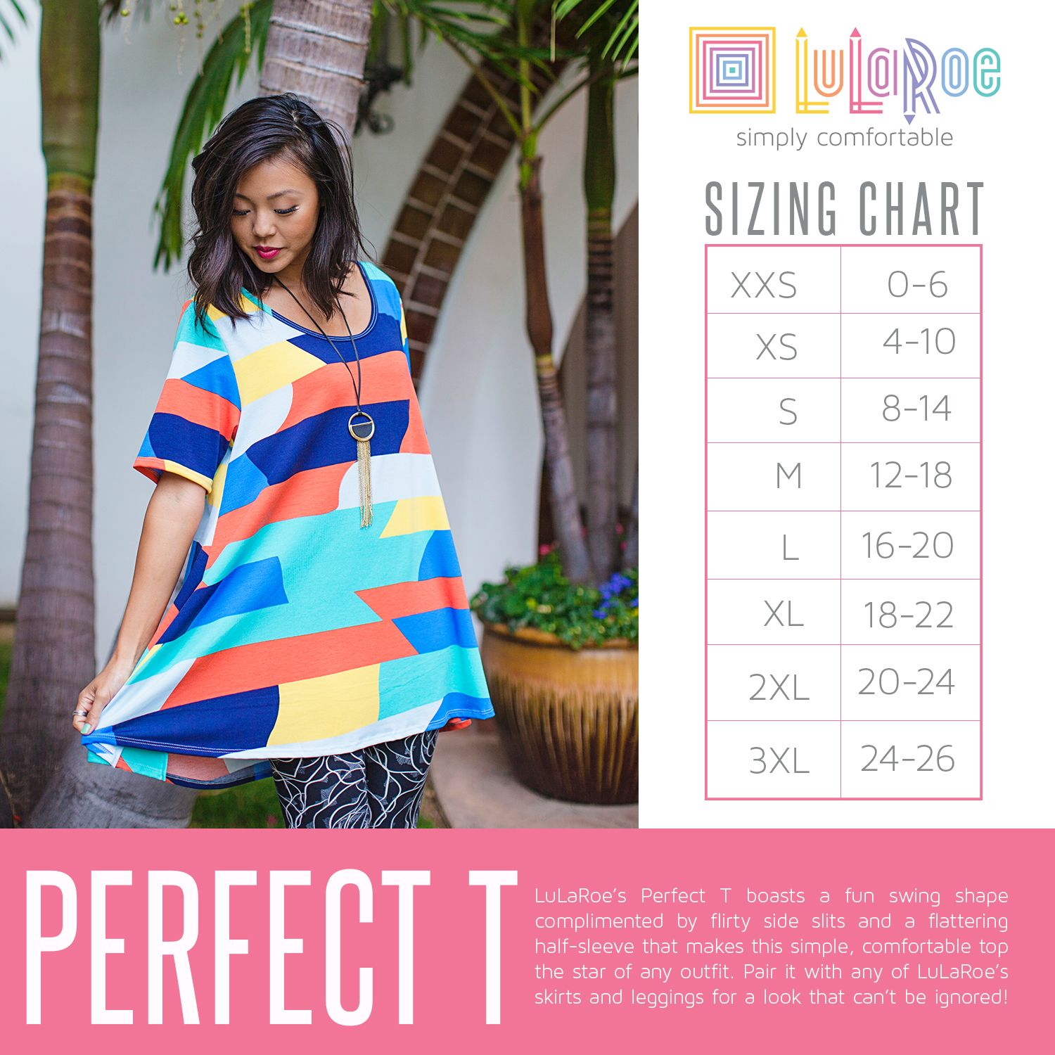 a5191de3ff9b37 Perfect Swing Style Tee by LuLaRoe has beautiful slits in the side to give  some extra movement and fun volume to this top. Size Chart for LuLaRoe  Perfect ...