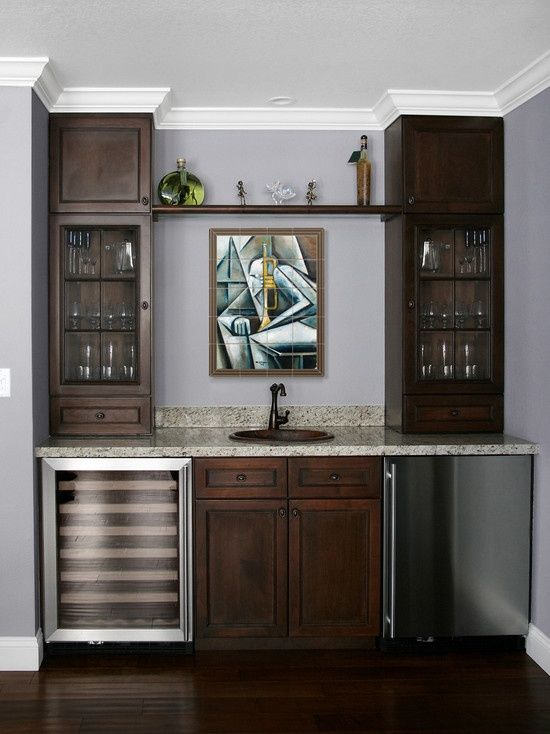 Attractive Ceiling Apparently Low, But Cabinets All Way To Top, W/ Crown Moulding,  Make It Look Higher. *** Modern Tile Mural In Home Wet Bar   Modern    Family Room ...