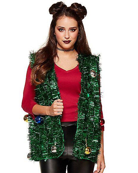 Christmas Vest.Green Tinsel Ugly Christmas Vest Spirithalloween Com