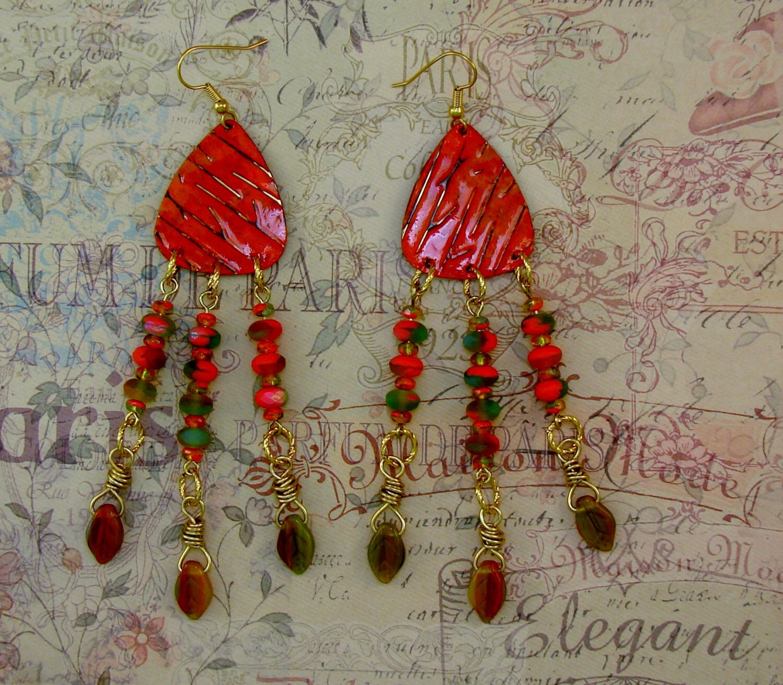 LONG DANGLE EARRINGS-Steampunk-Shabby Chic-Boho-Free Gift Included-Embossed Vintaj Brass Metal-Czech Beads-Orange-Fall-Leaves-Fun-Trendy by TheShabbyJean on Etsy https://www.etsy.com/listing/455582476/long-dangle-earrings-steampunk-shabby