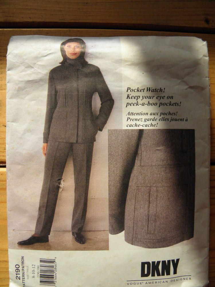 Vogue 2190 DKNY jacket pants Sz8-12 uncut 1.99+3.11 nsld 7/3/15 ...
