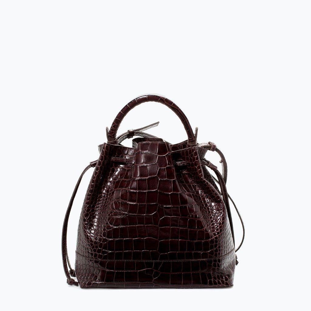 ZARA - WOMAN - CROC LEATHER BUCKET BAG
