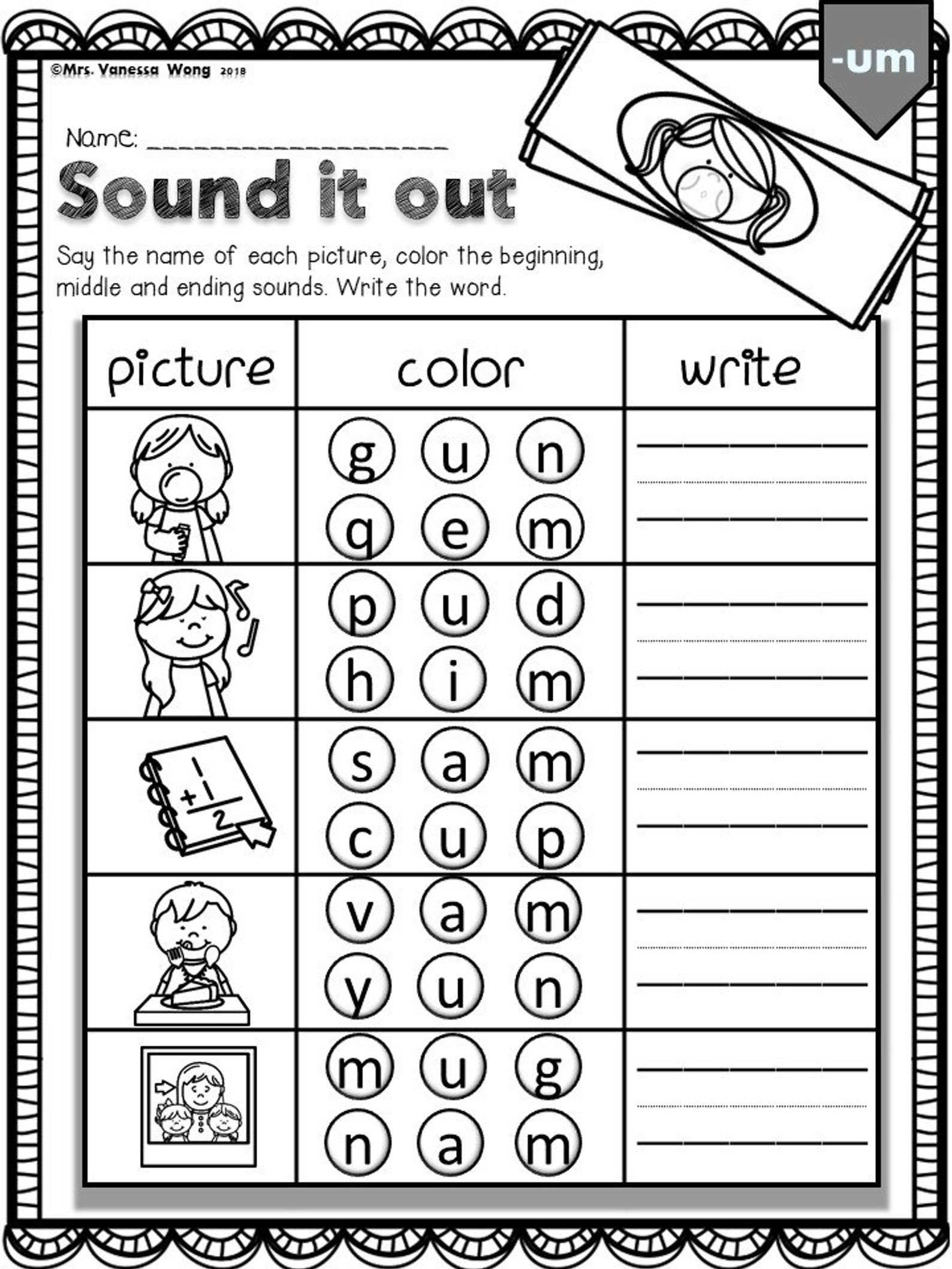Phonics Worksheets Cvc Sound It Outkindergarten First