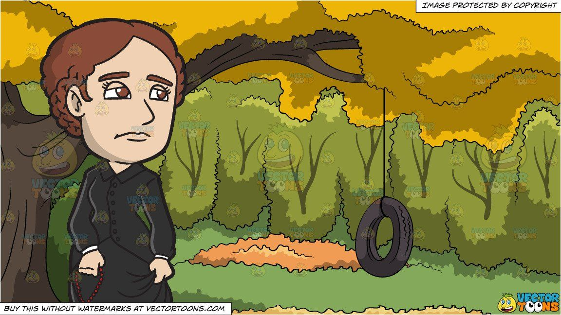 Vendor: vectortoon Type: Clipart Price: 20.00  Source Clipart  A Sad Female Missionary With A Rosary  A woman with braided brown hair wearing a long black dress covering her entire body frowns while looking distant as she holds a red rosary in her right hand.  Tire Swing In A Backyard Background  A rubber tire swing attached to the branch of a big tree with yellow leaves surrounded by lush green trees during an Autumn day. #tireswing