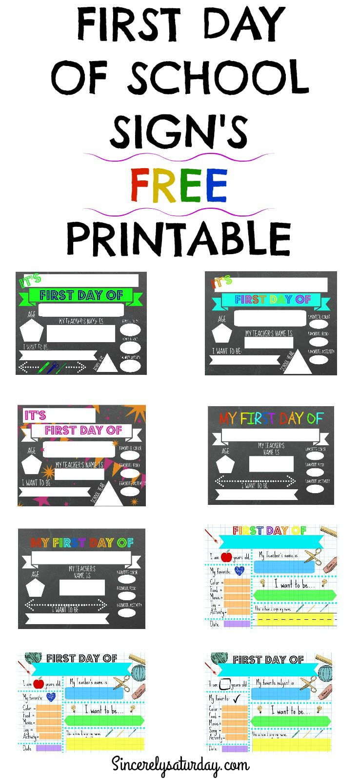 Free Printable First Day Of School Signs Blog Sincerely Saturday