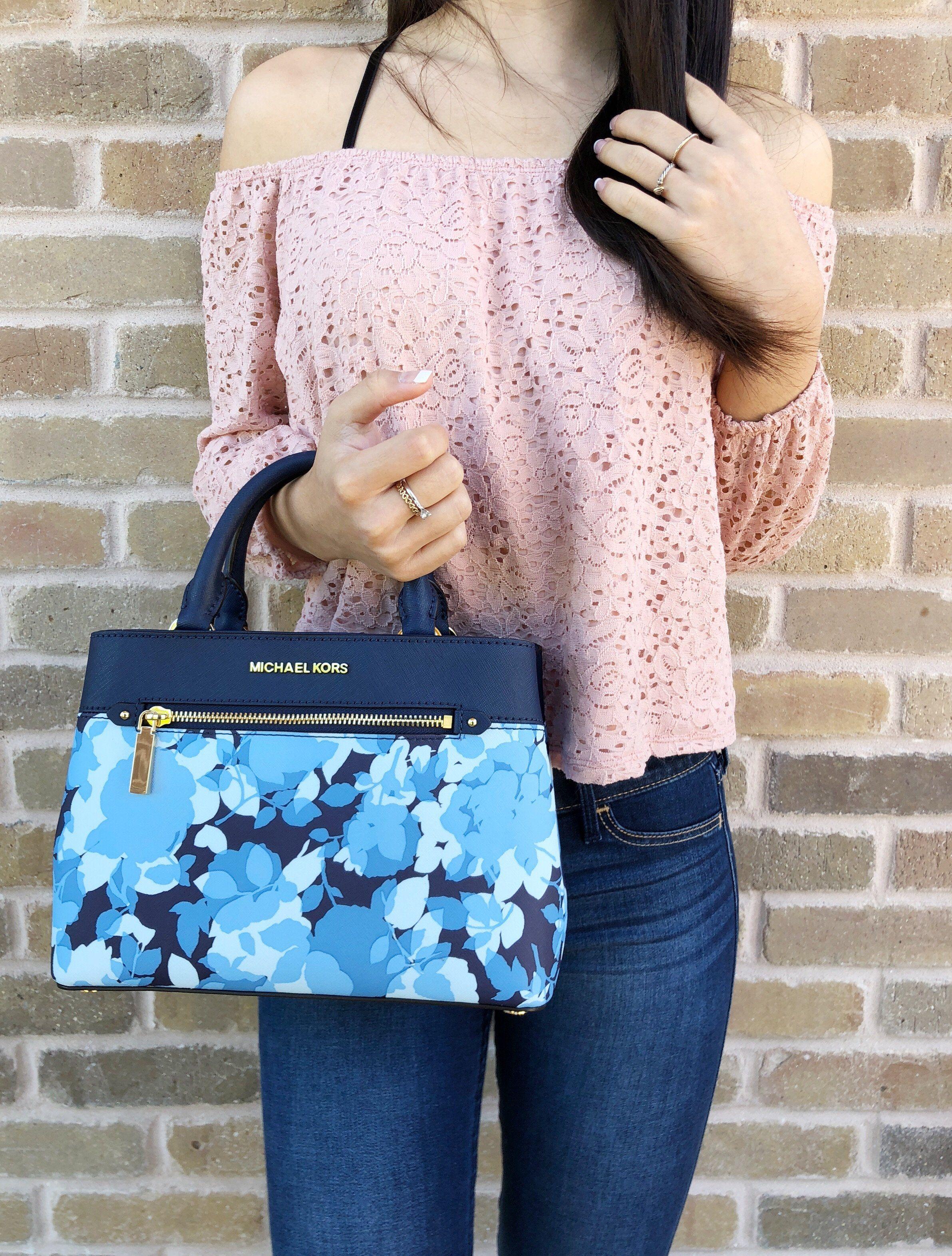 d2e4633dbf56 Michael Kors Hailee Kellen XS Satchel Small Crossbody Navy Blue White Floral  #poshpackages #ebay #mercariseller #amazondeals #ebaybusiness #MichaelKors  ...