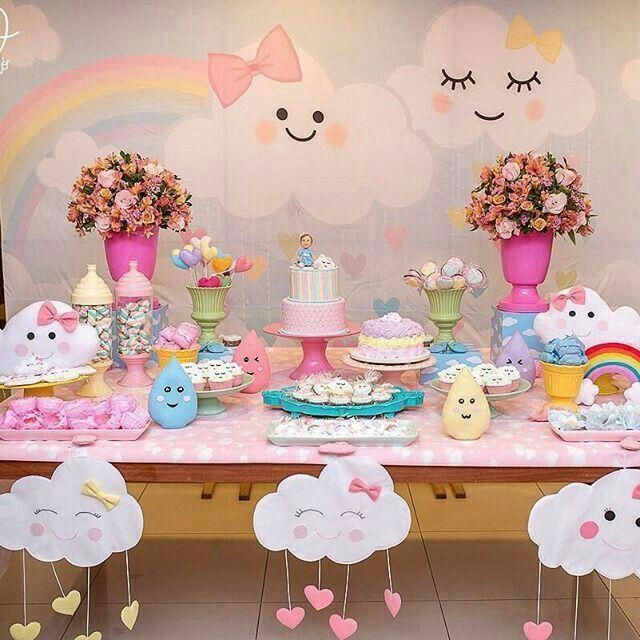 Festa infantil tema nuvem u2661 Baby shower Cloud party, Baby party e Baby Shower -> Decoração Chá De Bebê Nuvem