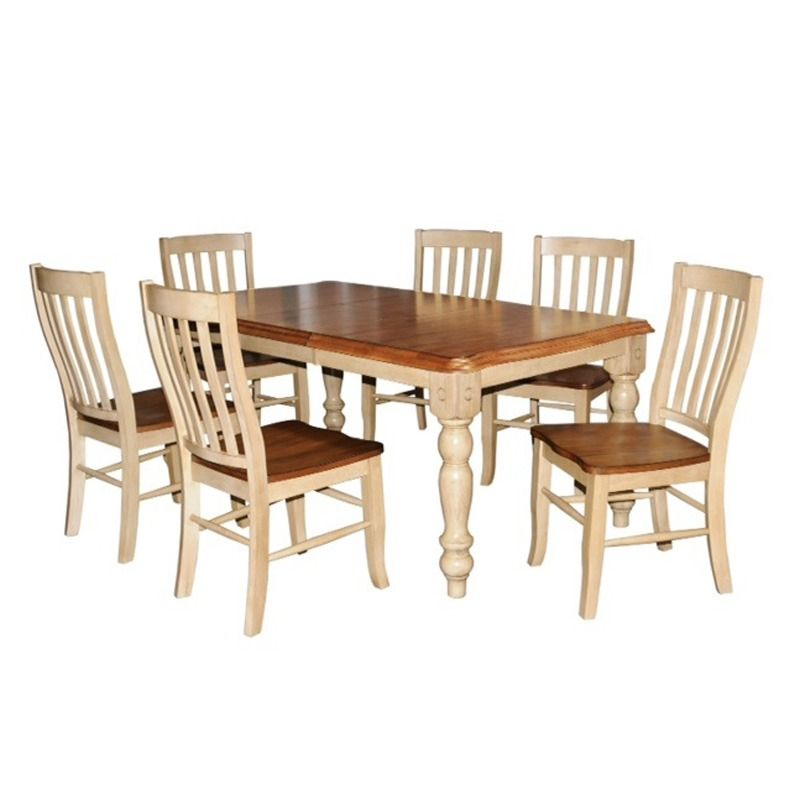 The Almond Wheat Finish On This Wood Dining Room Table Is Almost As Delicious Food You Ll Eat It Quails Run Ii 7 Pc