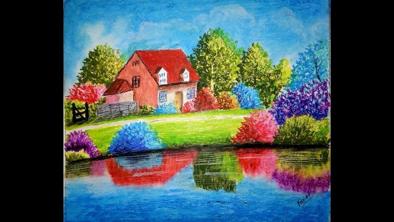 Easy Landscape Painting Landscape Painting For Beginners Village Sce Easy Landscape Paintings Oil Pastel Paintings Beautiful Scenery Paintings