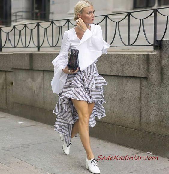 2019 Şık Kombinler Gri Ön Kısa Arkası Uzun Çizgili Etek Beyaz V Yaka İspanyol Kol Gömlek Beyaz Babet Ayakkabı