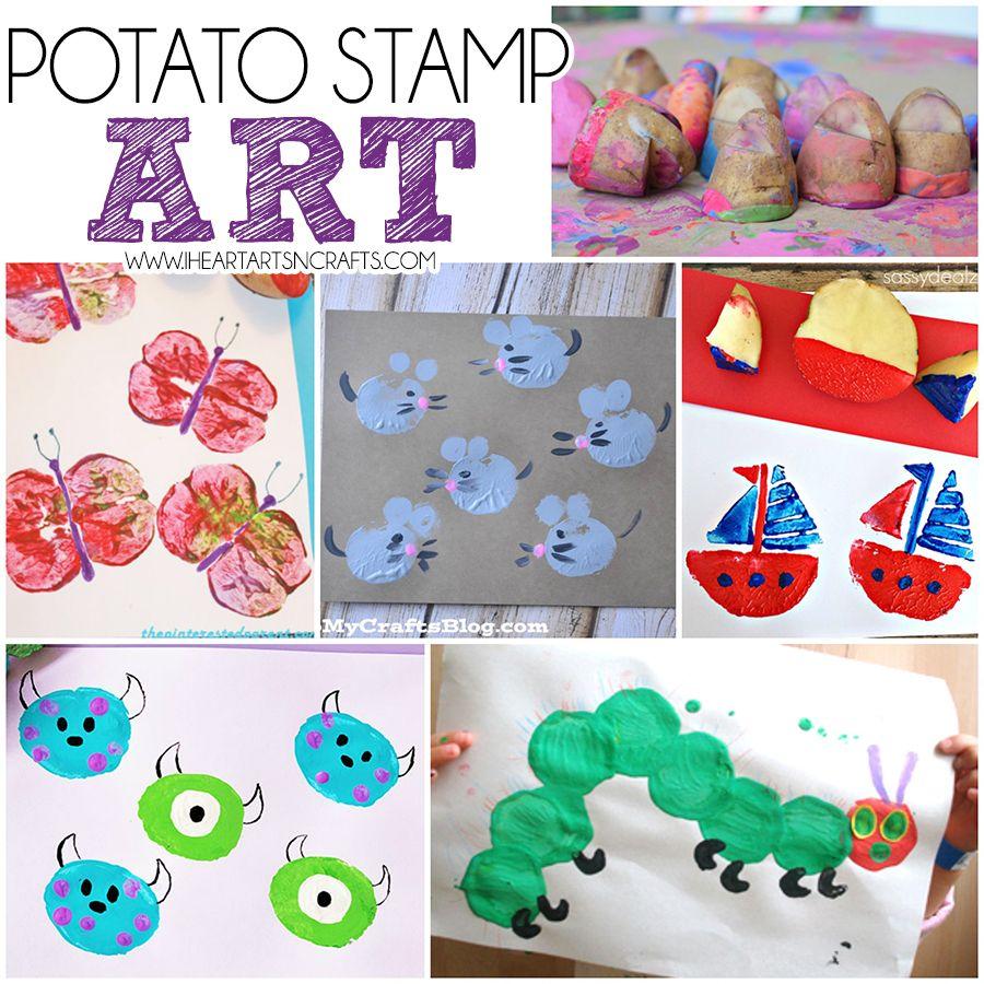 Potato Stamp Art   Easy art projects, Potato print and ...