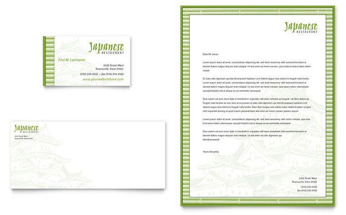 Japanese Restaurant - Business Card \ Letterhead Template Design - restaurant business plan template