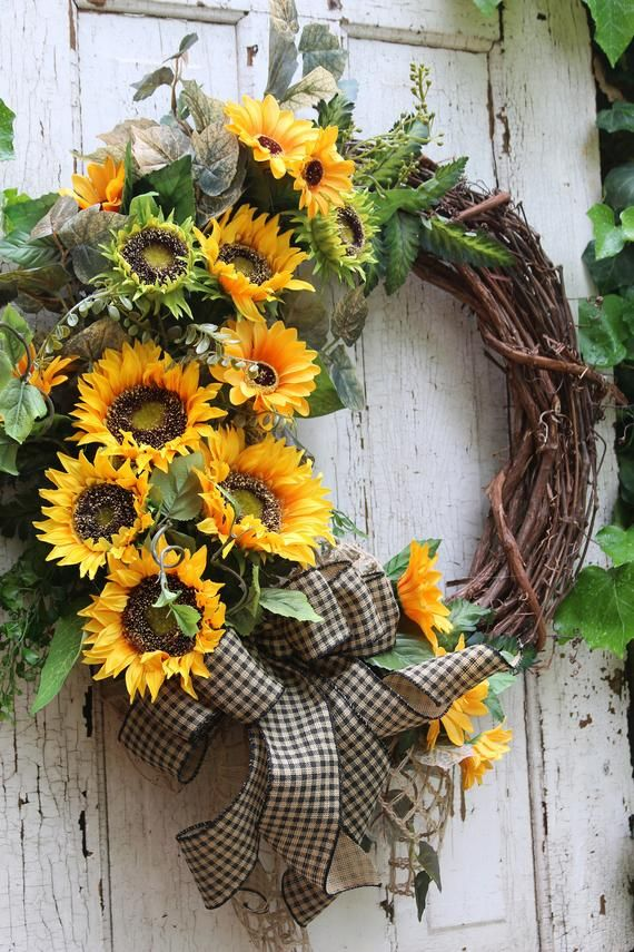 Photo of Farmhouse wreath for front door, sunflower wreath, rustic country double door with sunflowers, back porch sunflower decor all year round