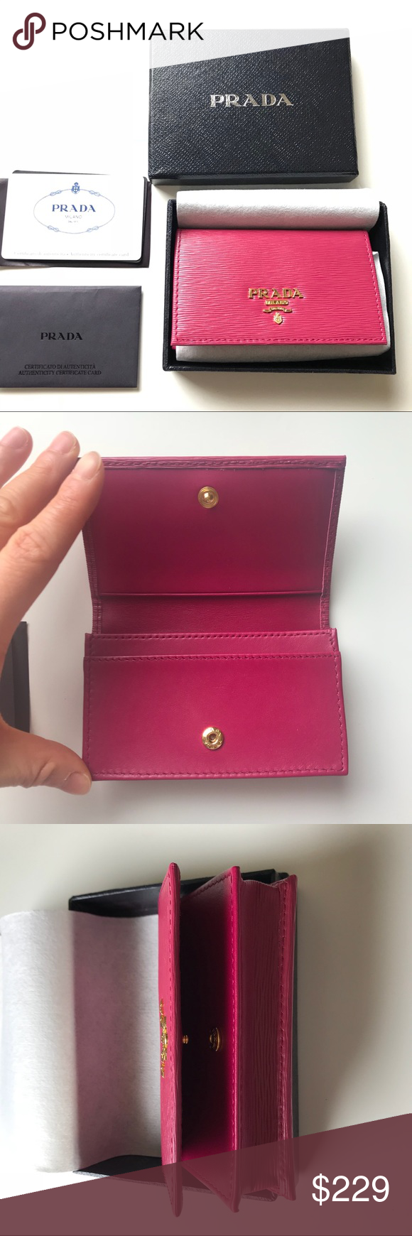 Prada Metal Card Case Wallet NWT | Card case, Pink leather and Smooth