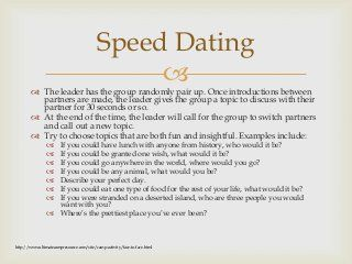 Funny speed dating activities