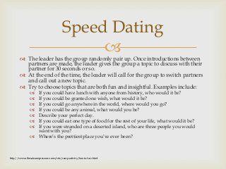 Speed dating icebreaker activity