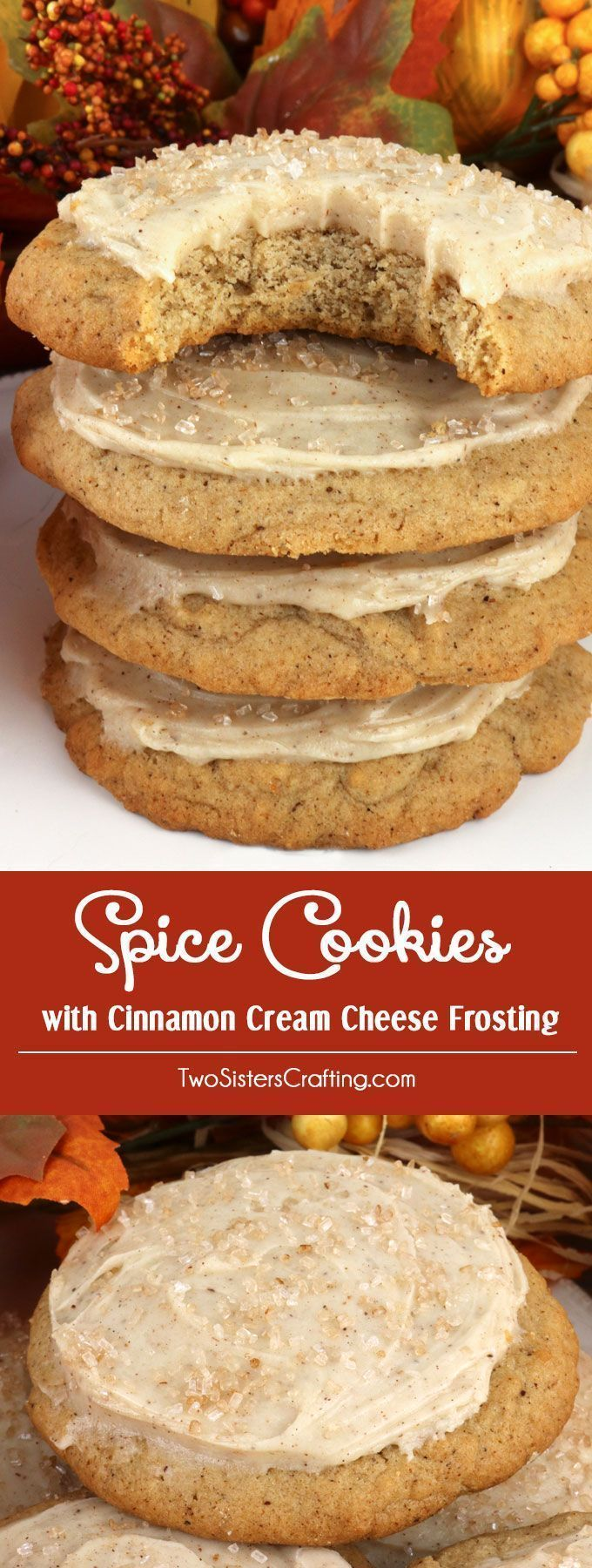 Spice Cookies with Cinnamon Cream Cheese Frosting - a light and fluffy spice cookie topped with delicious Cinnamon Cream Cheese Frosting that is perfect for Fall. This unique and tasty Thanksgiving frosted cookie would be great Thanksgiving dessert idea for a potluck dinner, a fall bake sale or a Christmas Cookie exchange. Pin this delicious cookie recipe for later and follow us for more great Thanksgiving Food ideas. #bakesaleideas