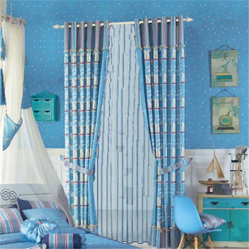 Cartoon Sailboat Kids Nursery Curtains Blue Neoclical