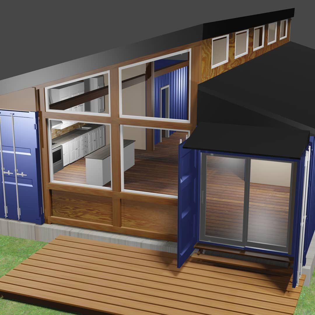 Some more views of our 1200 sqft two container design. 2 bedrooms, open concept kitchen living room.  Looking for advice on a container build?  Contact us today.  #shippingcontainer #offgrid #shippingcontainerhouse #shippingcontainerhome #designbuildconsulting #free #freeconsultation #diy #downsize #tinyliving #container #containerliving #tinyhome #adu #offgrid  #containeroffice #solar #containercabin #containercottage #cabin  #shippingcontainer #cottage  #thecontainerbuilders #livesmall #contai
