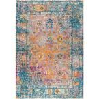 JONATHAN Y Bohemian Flair Boho Vintage Faded Cream/Navy 5 ft. x 8 ft. Area Rug-BMF103A-5 – The Home Depot