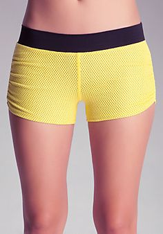 Mesh Ruched Boy Shorts bebe -- ugh yet another adorable bebe piece that doesn't come in my size....