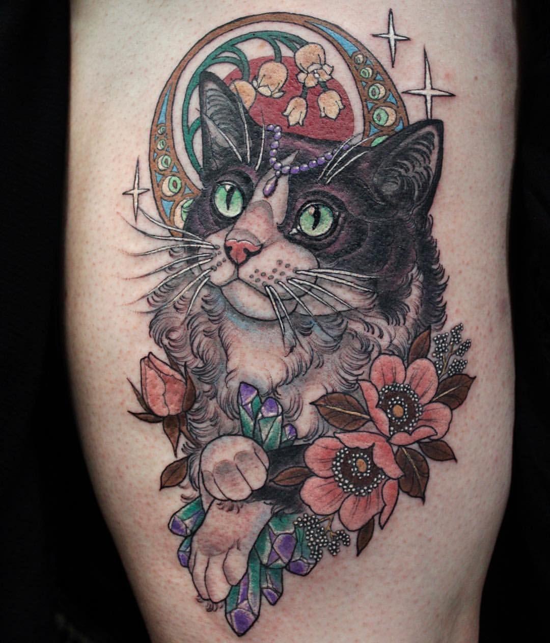 Art Nouveau Cat For Liana Based Off Of Her Cat At Deathless Tattoos Cat Tattoo Designs Art Nouveau Cat Cat Portrait Tattoos